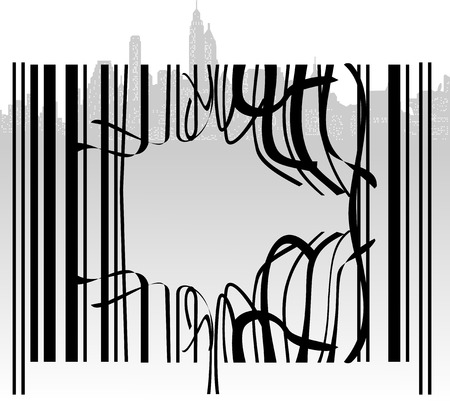 Broken Barcode City Vector
