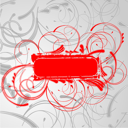 Red Curves Banner On Gray Curves Background. Art Deco. Vector