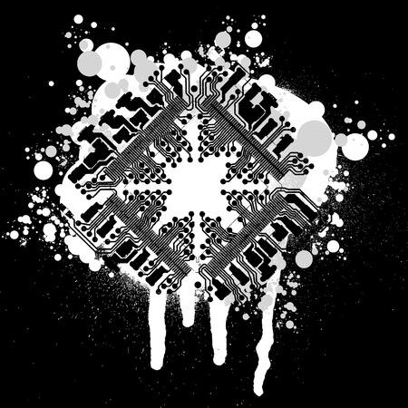 componentes electronicos: Blanco y negro placa de circuito de Graffiti  Vectores