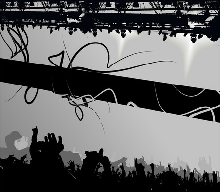 Show Crowd Silhouette. Banner. Vector Illustration. Vector