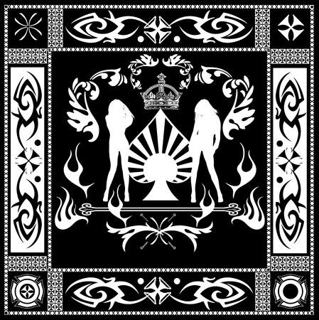 mortality: Ornate Black And White Girls Quad Illustration