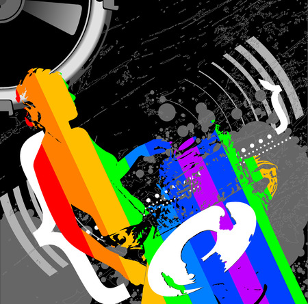 Girl DJ And Rainbow Music Remix Vector