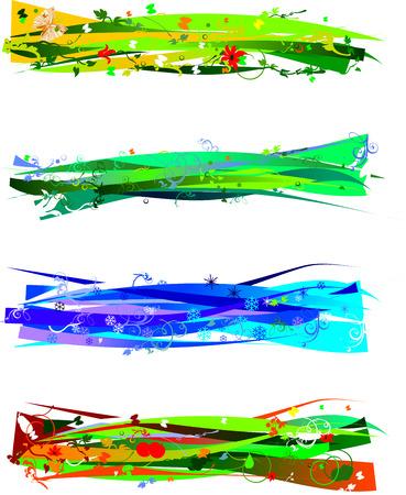 Four Seasons Banners Vector