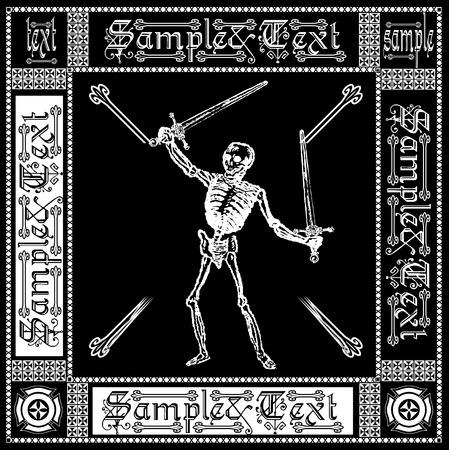 mortality: Ornate Black And White Skeleton Illustration