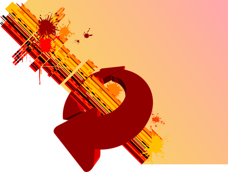 Yellow Background And Red Circle Arrows Vector
