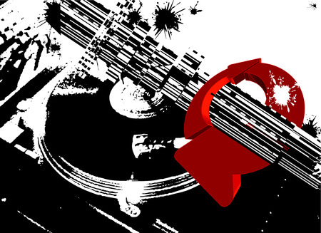 Black DJ Turntable And Red Circle Arrows Vector