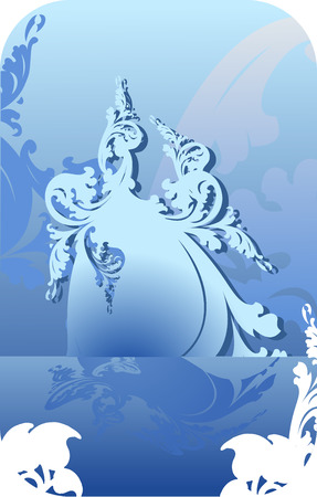Blue Ice Curves Background. Vector