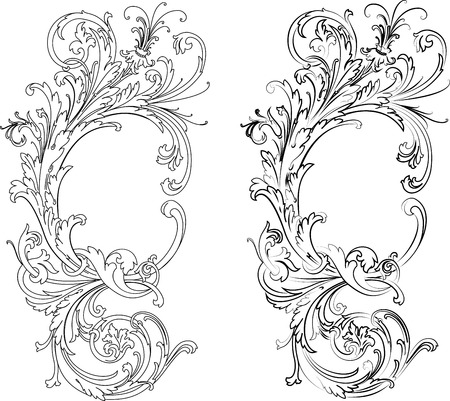 free vector art: Baroque Two Styles: Traditional and Calligraphy