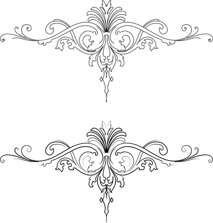 Baroque Two Styles: Traditional and Calligraphy. All Curves Separately. Vector