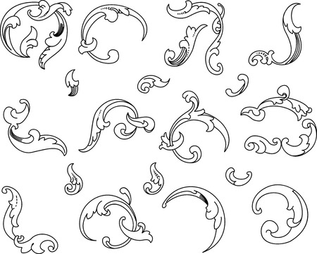 Baroque Clipart. All Curves Separately. Vector