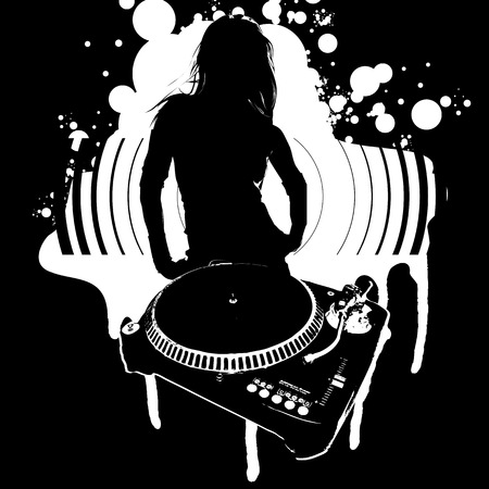grooved: Girl Silhouette, Turntable Illustration
