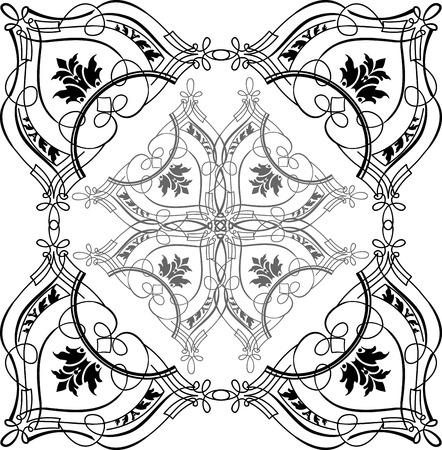 Baroque Ornate Calligraphy Quad Vector