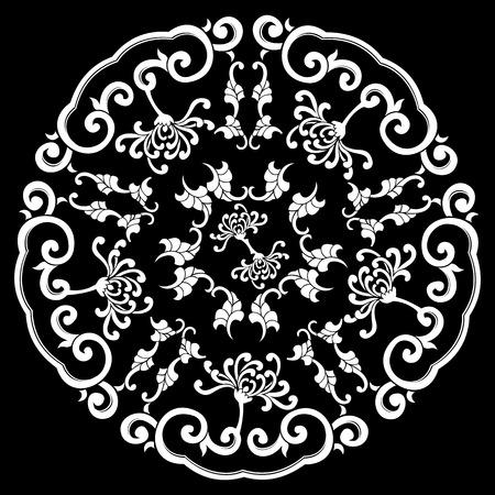 Black Circle Silhouette Ornament Vector