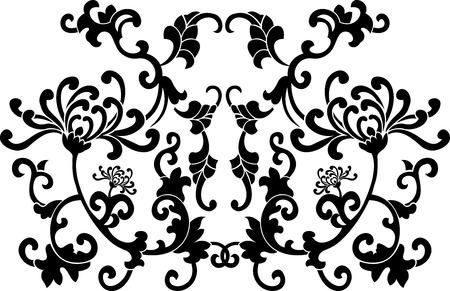 Black Floral Curves Silhouette Ornament Vector