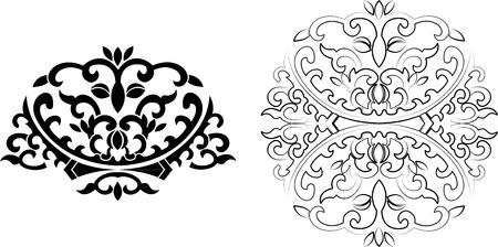 Floral Curves Ornament. Vector