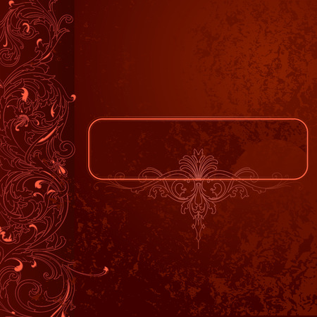 Brown-red Grunge Lace Background With Banner Illustration