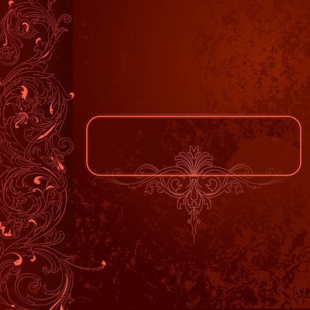Marrone-rosso Grunge Lace Contesto Con Banner Vettoriali