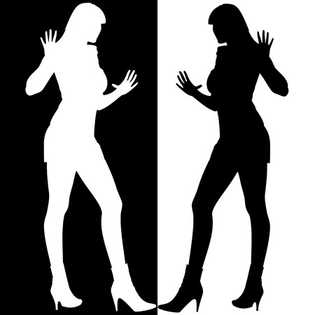 Black And White Girls Silhouette Mirror Stock Vector - 3250214