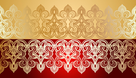 Seamless Gold Lace Ornate On Red Vector