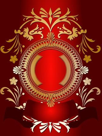 prompt: Golden Ornate Banner On Red