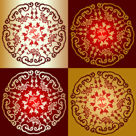 Red Gold Chine Ornament Vector