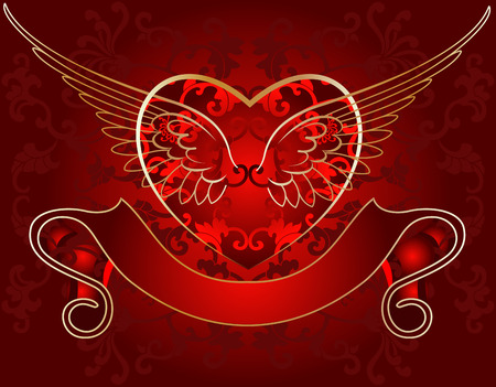 Wing Heart Gold On Red Vector