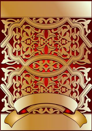 Golden On red Ornate Banner Vector