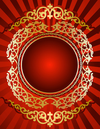 Golden Ornament On Red Background Vector