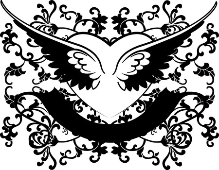 Black And White Wings Heart On Curves Background Vector