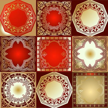 Red Gold Various Quad Ornament Vector
