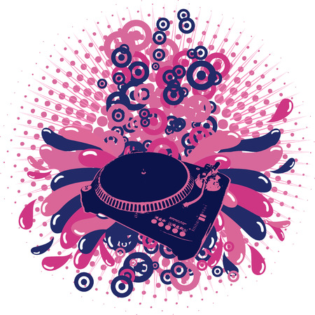 Illustration on a musical theme with turntable