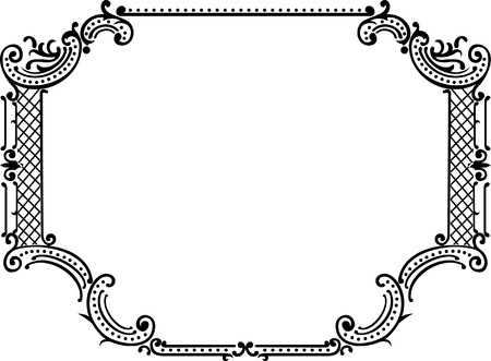 One Color Ornate Frame Illustration