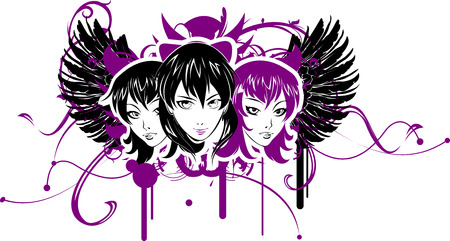 Three Emo Girls Illustration