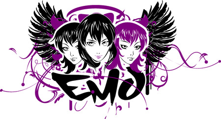 ojos anime: Tres ni�as Emo. texto