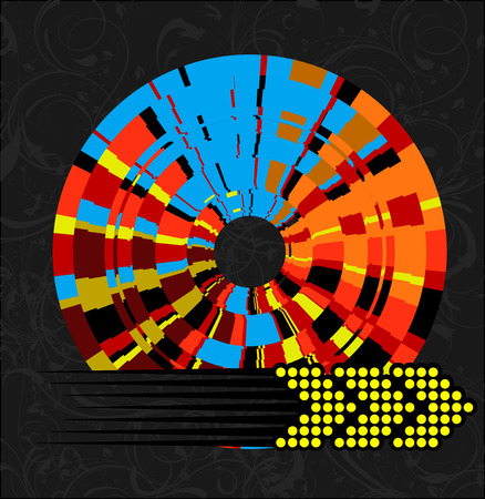 Abstract Multicolored Wheel and Arrow Vector