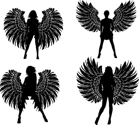 Four Silhouette Winged Girls Angels Vector