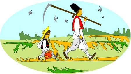 man in field: Rural workers. Balkan Peasants. Illustration