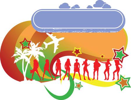 Tropical Girls Vacation Logo Stock Vector - 3536316