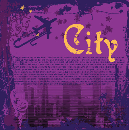 Grunge Purple City Flayer Vector
