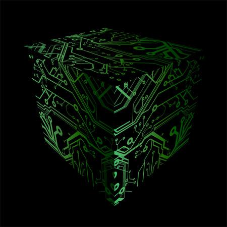 Cube Print Circuits Plates Stock Vector - 3687578