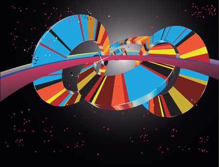 Abstract Multicolored 3D Wheel in Space Vector
