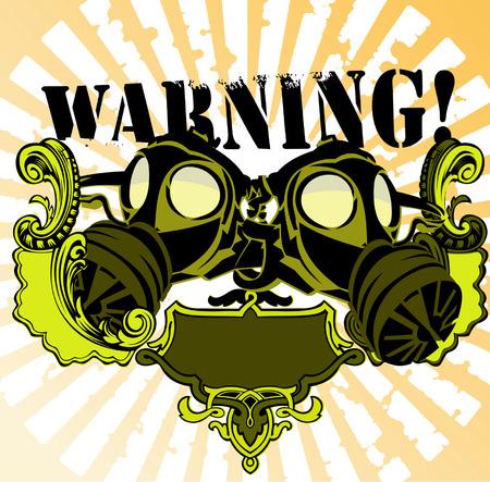 gas mask warning sign: Gas Mask Warning Sign