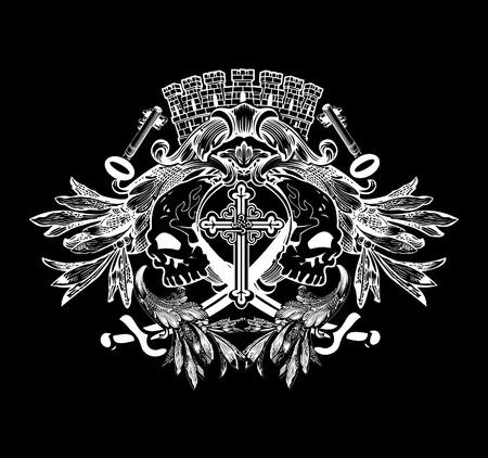 Two skulls on heraldic crowned tower shield. Illustration