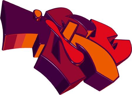 person shined:  Purple 3D graffiti. Illustration