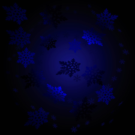Black Blue Night Snowflakes Vector