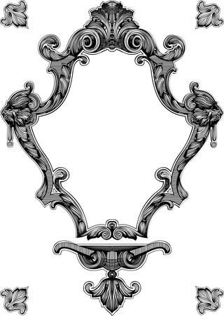 heraldic shield: Decorative Vintage Royal Ornate Frame Illustration
