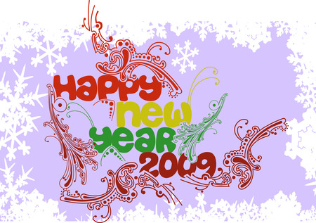 Multicolored Happy New Year 2009 Vector