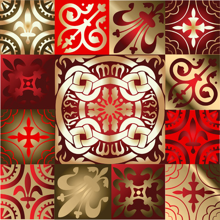 Red Gold Various Quad Ornament Stock Vector - 3943067