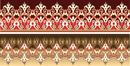 free vector art: Seamless Gold Lace Ornate On Red Illustration