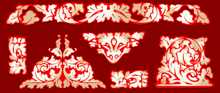 Baroque Red Gold Clip-art. All Curves Separately.More In My portfolio. Vector